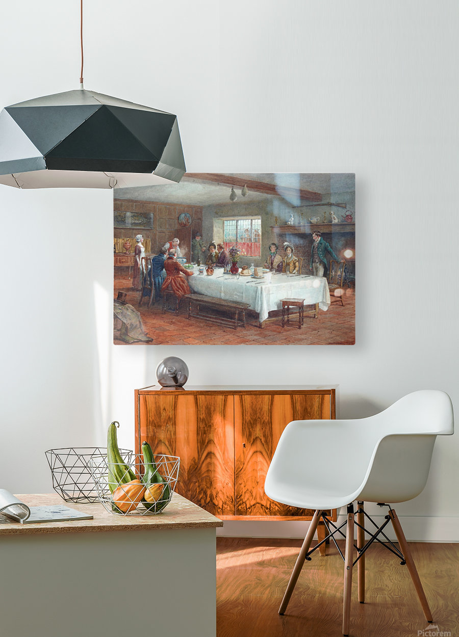 A meal stop at a coaching inn  HD Metal print with Floating Frame on Back