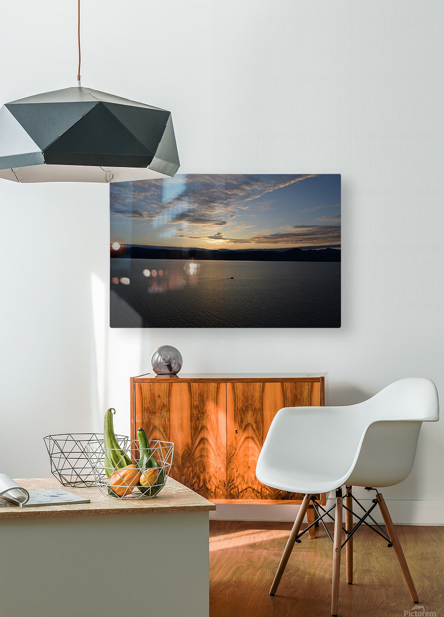 Sunset Boating on Champlain II  HD Metal print with Floating Frame on Back