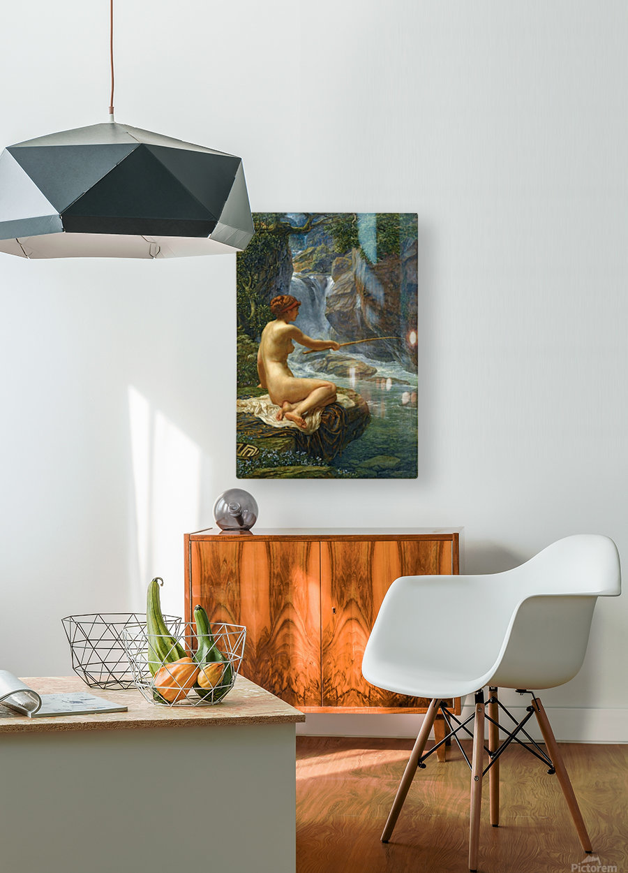 The Nymph of the Stream  HD Metal print with Floating Frame on Back