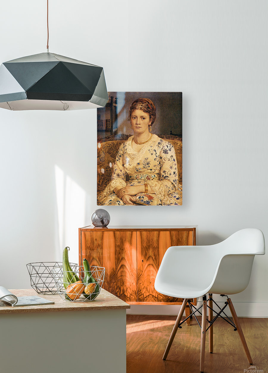 Portrait of Mrs J P Heselitine  HD Metal print with Floating Frame on Back