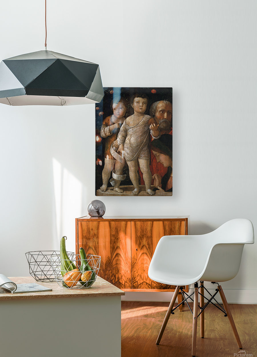 The Holy Family with St John  HD Metal print with Floating Frame on Back
