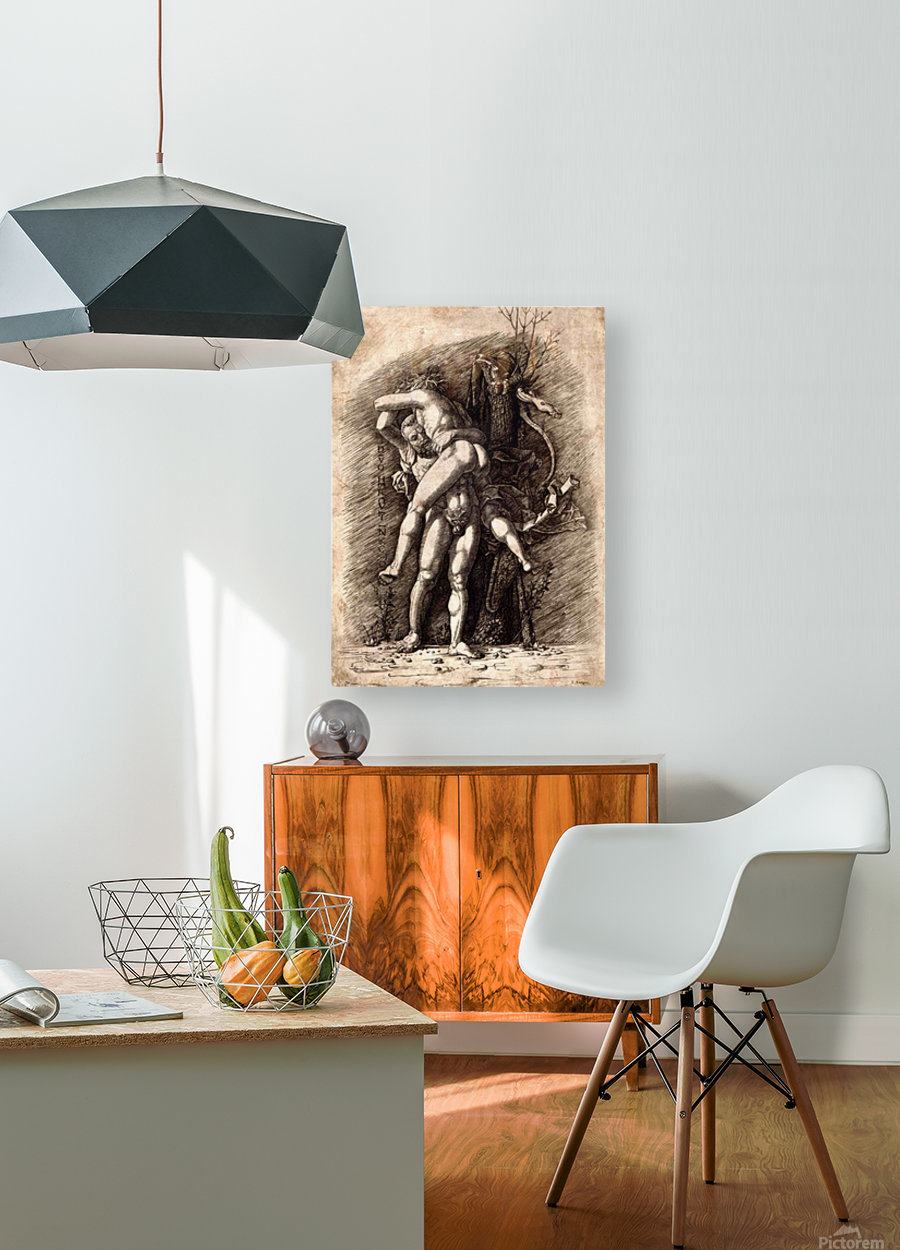 Hercules and Antaeus  HD Metal print with Floating Frame on Back