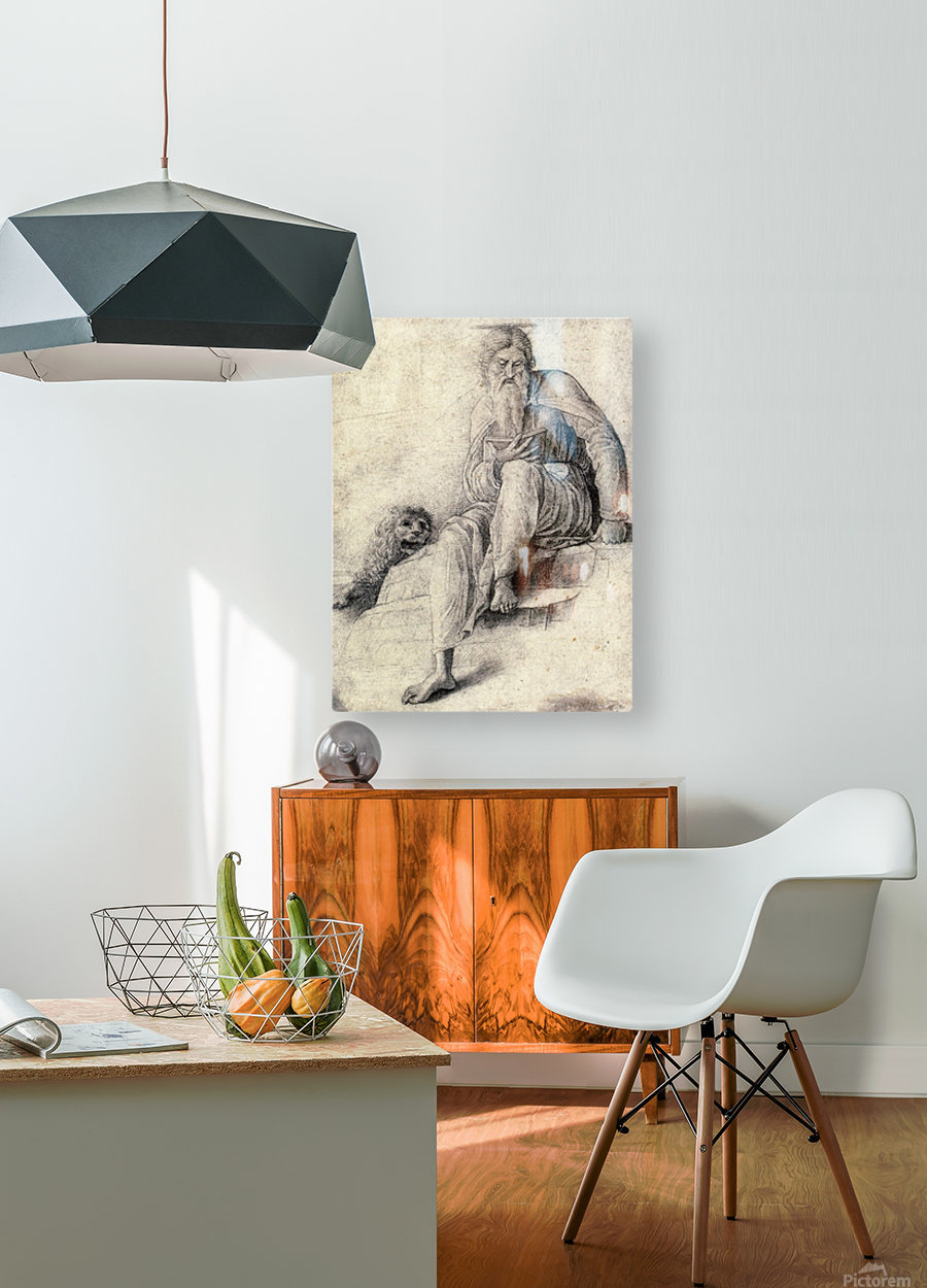 Saint Jerome Reading with the Lion  HD Metal print with Floating Frame on Back
