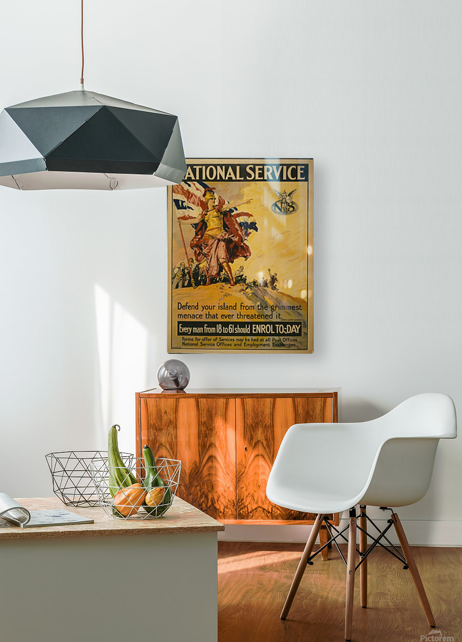 National Service  HD Metal print with Floating Frame on Back