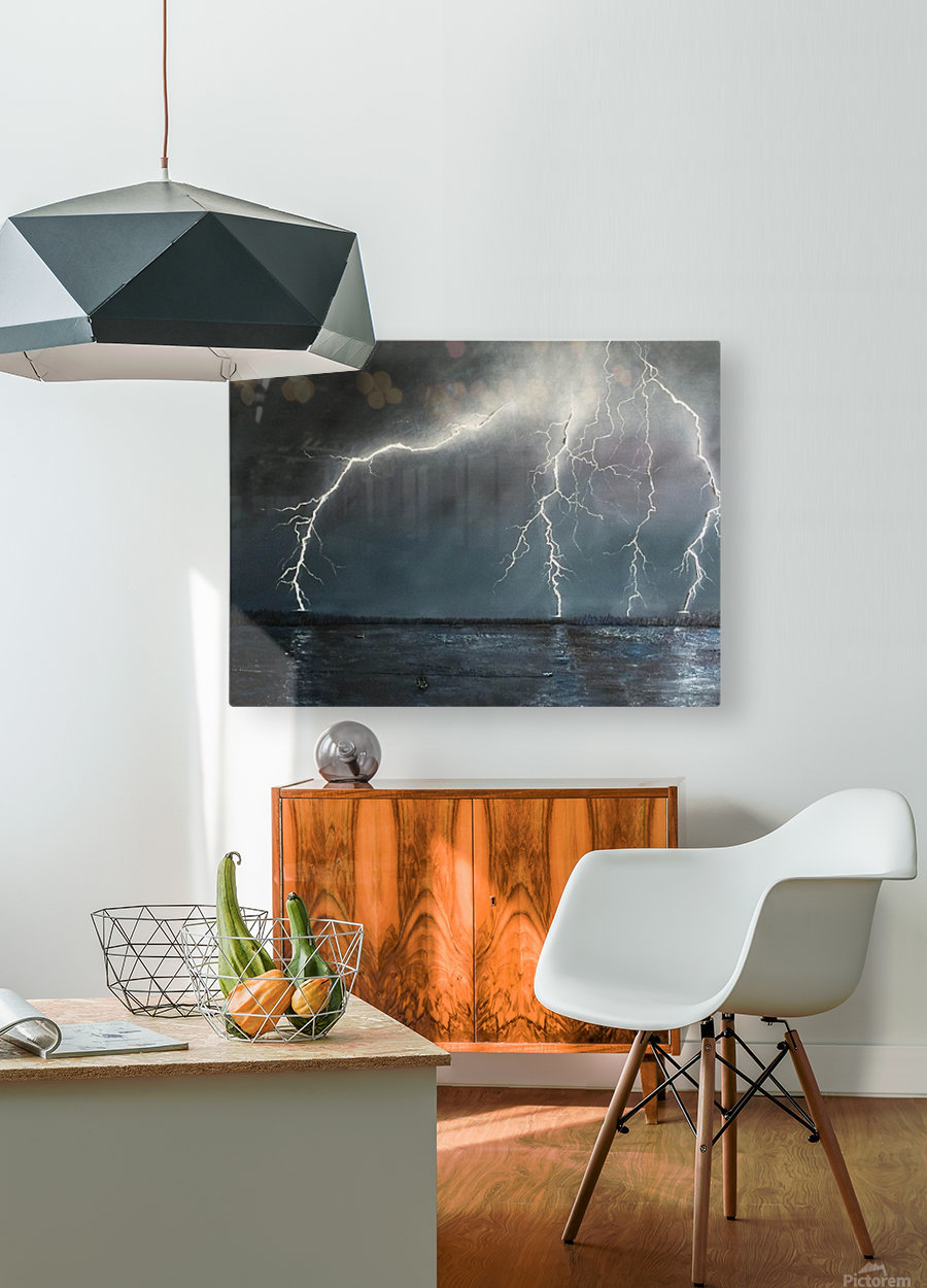 Electric  HD Metal print with Floating Frame on Back