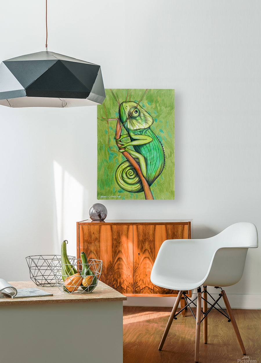 green chameleon  HD Metal print with Floating Frame on Back