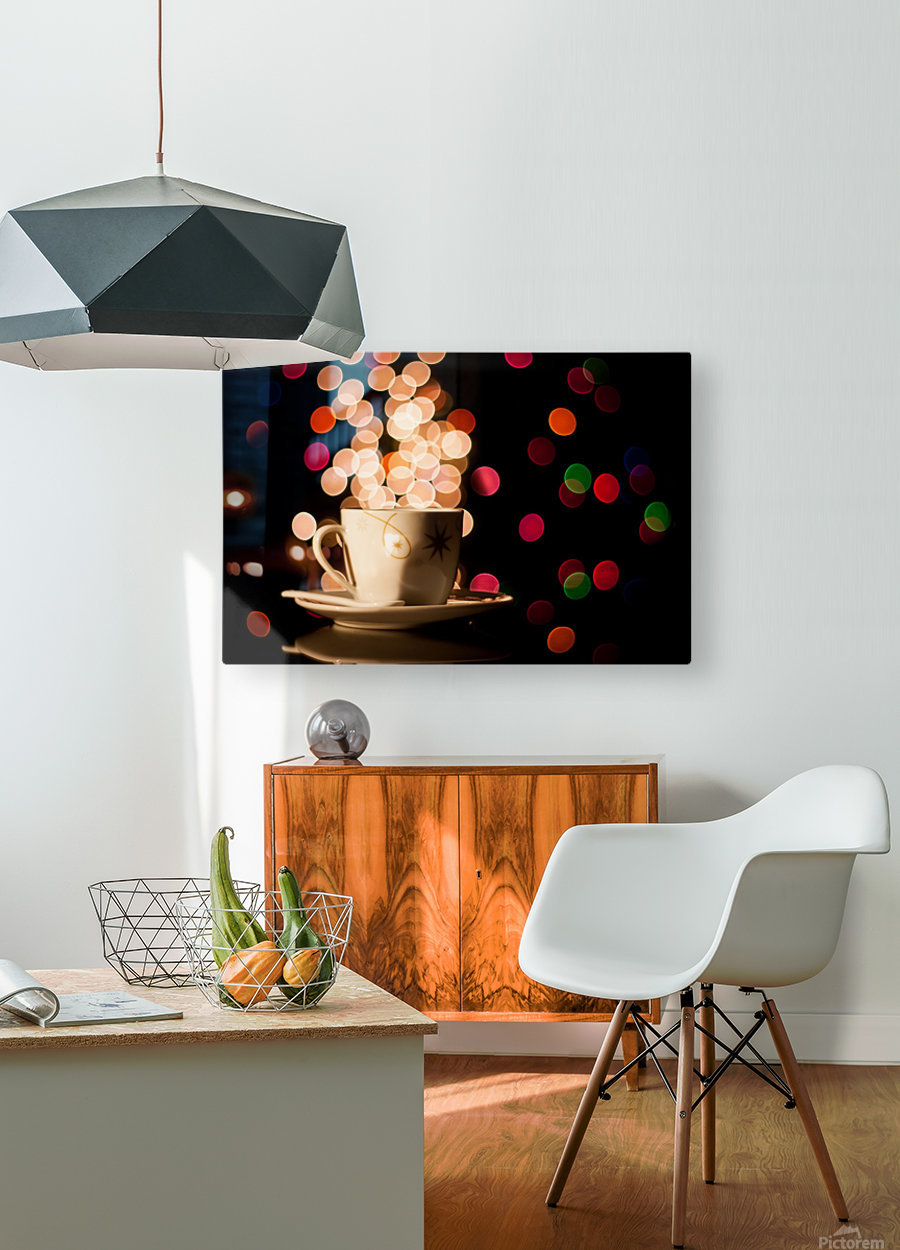 Christmas background with cup of tea  HD Metal print with Floating Frame on Back