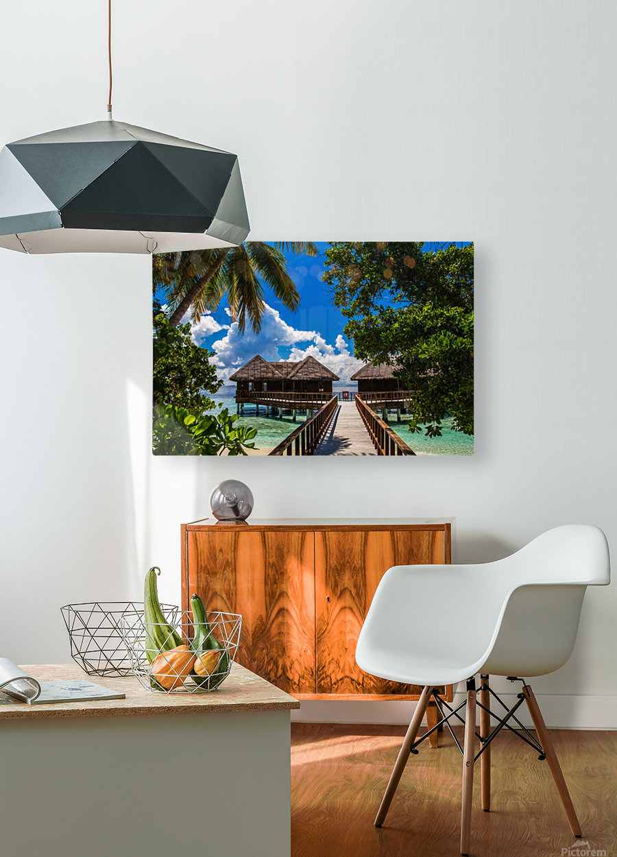 Amazing beach in Maldives, summer travel  HD Metal print with Floating Frame on Back
