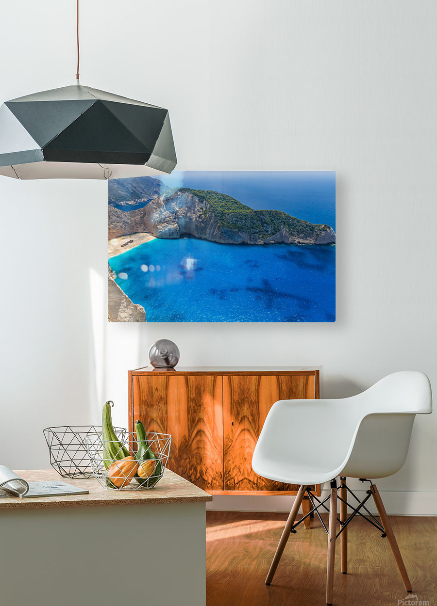 Navagio beach with shipwreck on Zakynthos island in Greece  HD Metal print with Floating Frame on Back