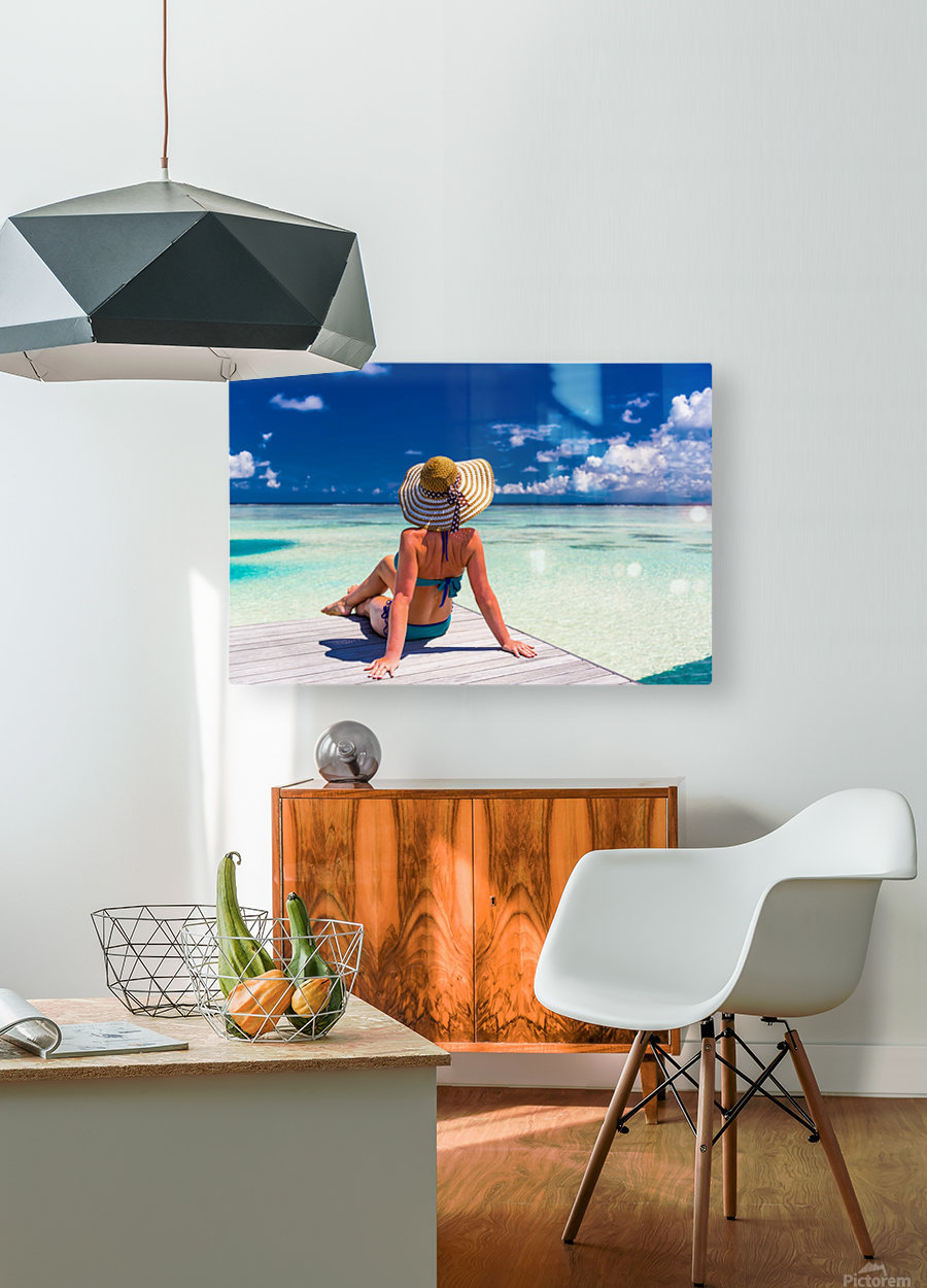 Sexy woman in bikini enjoy in tropical resort, sitting, back view  HD Metal print with Floating Frame on Back