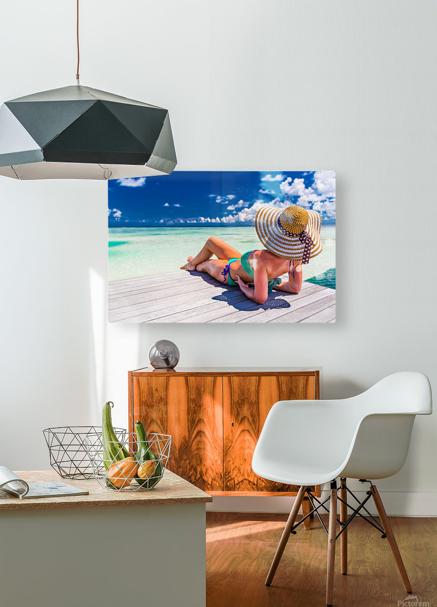 Woman in bikini lying on tropical beach at Maldives  HD Metal print with Floating Frame on Back