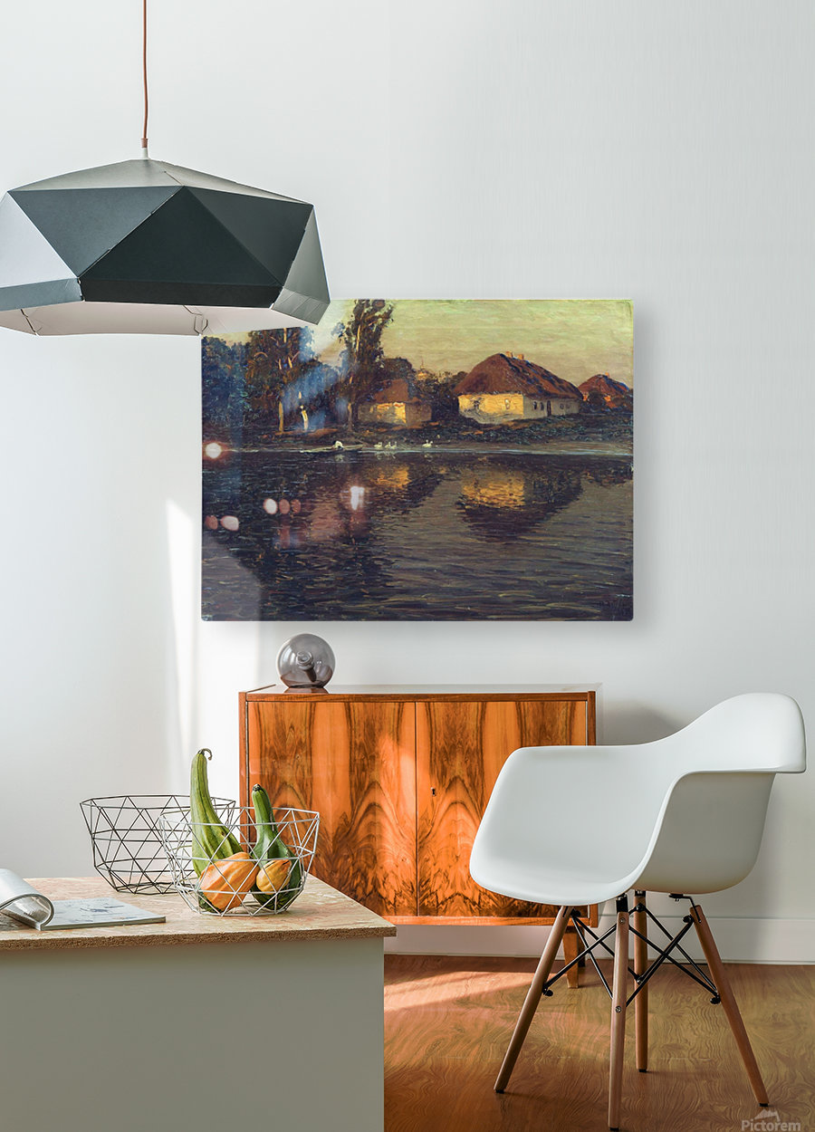Evening in the Ukraine  HD Metal print with Floating Frame on Back