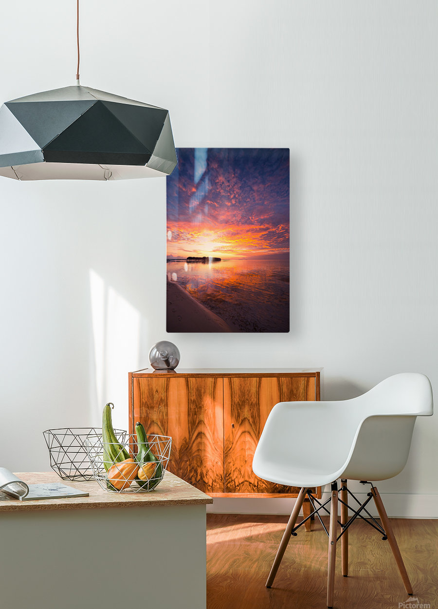 Beautiful tropical beach sunset  HD Metal print with Floating Frame on Back
