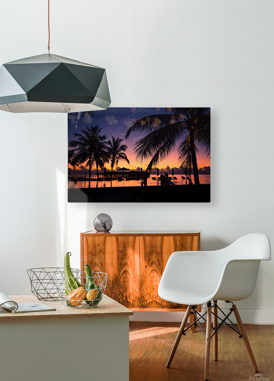 Silhouette coconut palm trees on beach at sunset. Vintage tone  HD Metal print with Floating Frame on Back