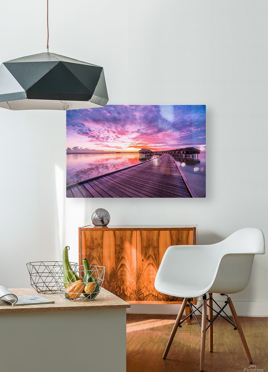 Amazing tropical sunset beach, luxury overwater bungalow  HD Metal print with Floating Frame on Back