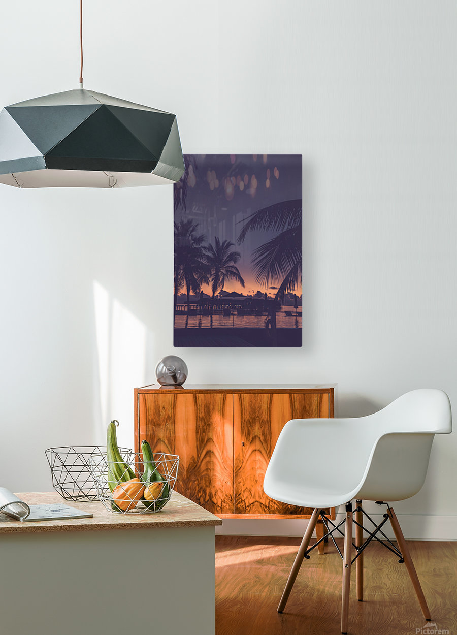 Palm trees silhouette on sunset tropical beach  HD Metal print with Floating Frame on Back