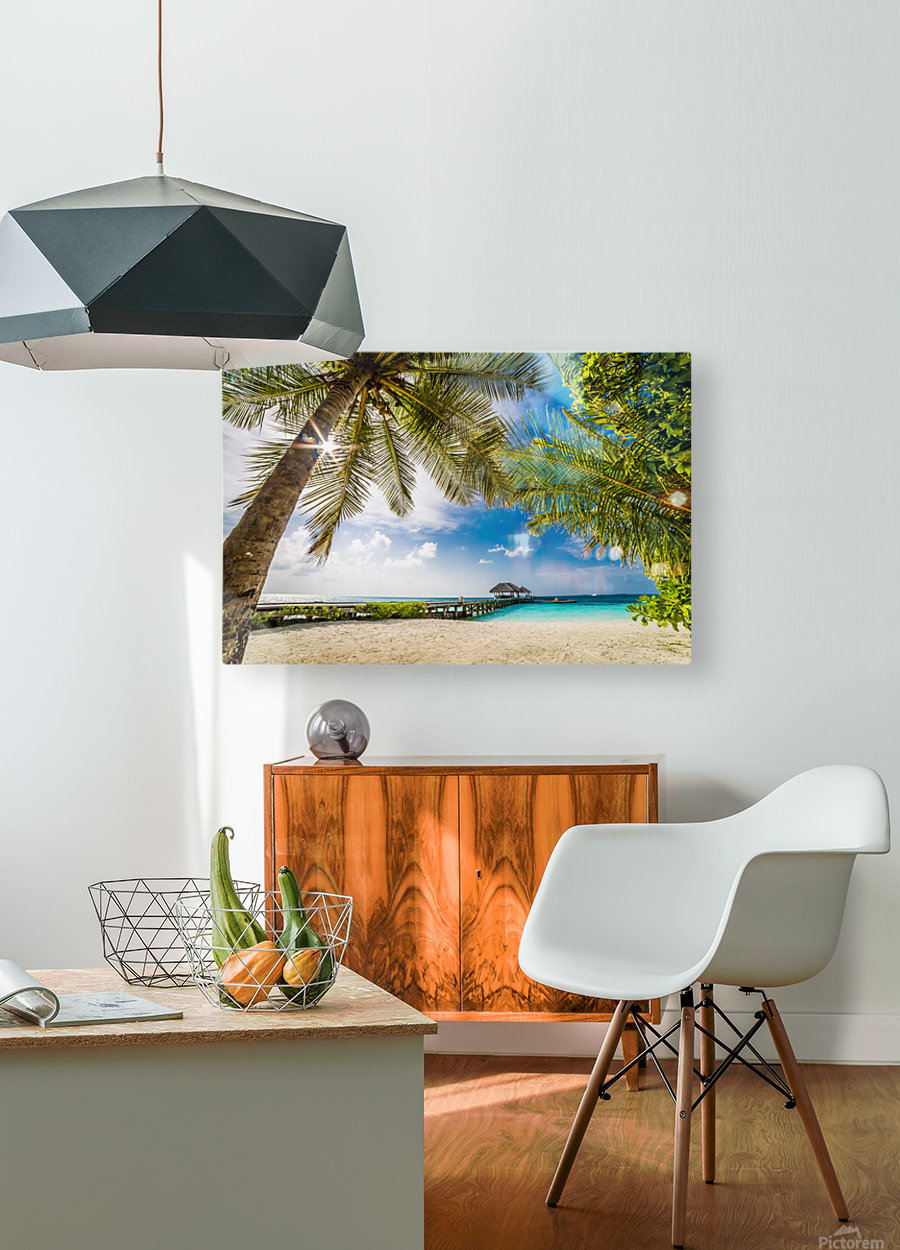 Palm and tropical beach  HD Metal print with Floating Frame on Back