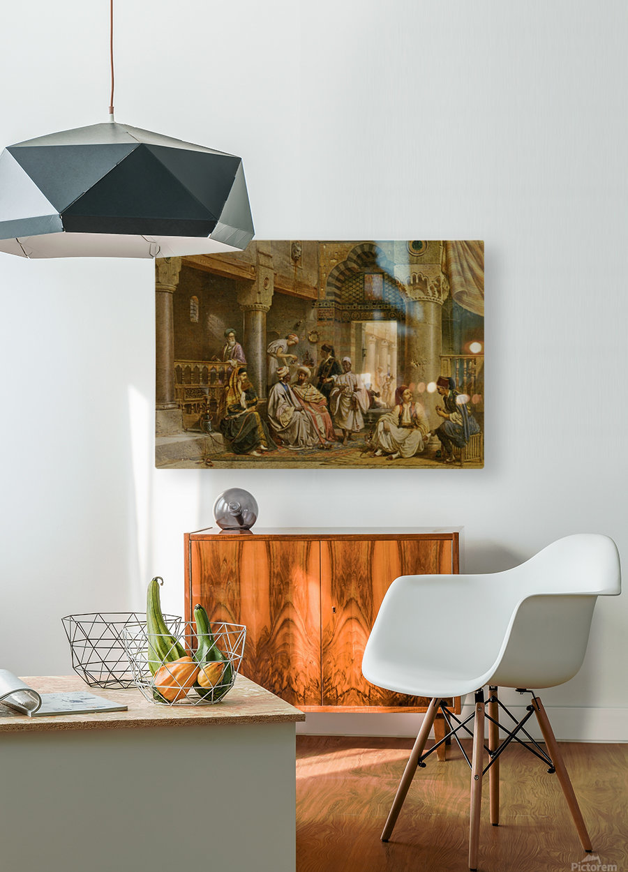 The coffee house  HD Metal print with Floating Frame on Back