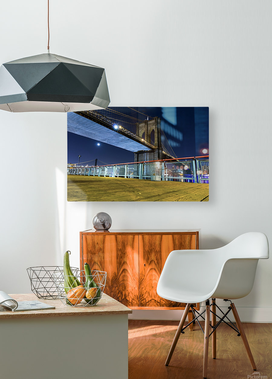 The Brooklyn Bridge 0  HD Metal print with Floating Frame on Back
