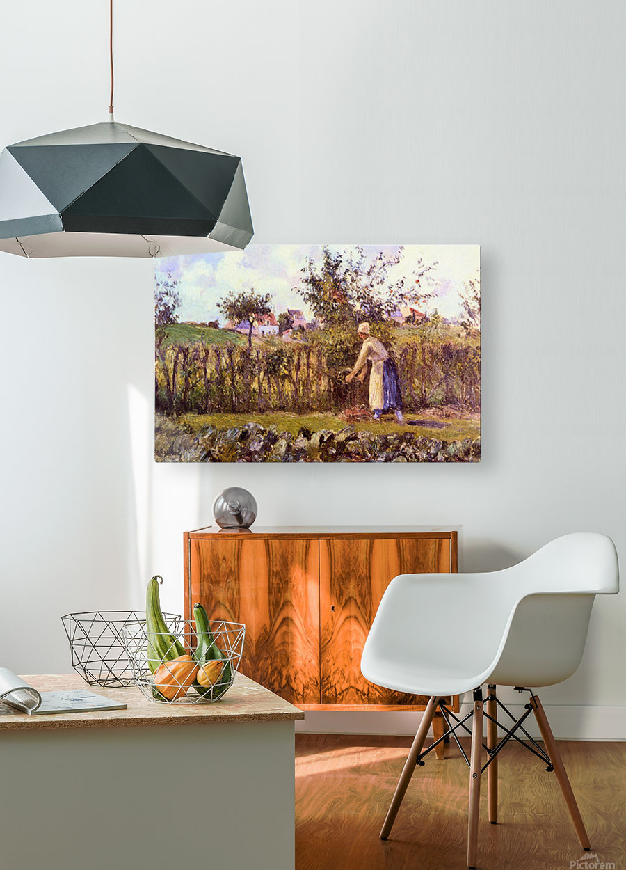 In the Orchard by Pissarro  HD Metal print with Floating Frame on Back