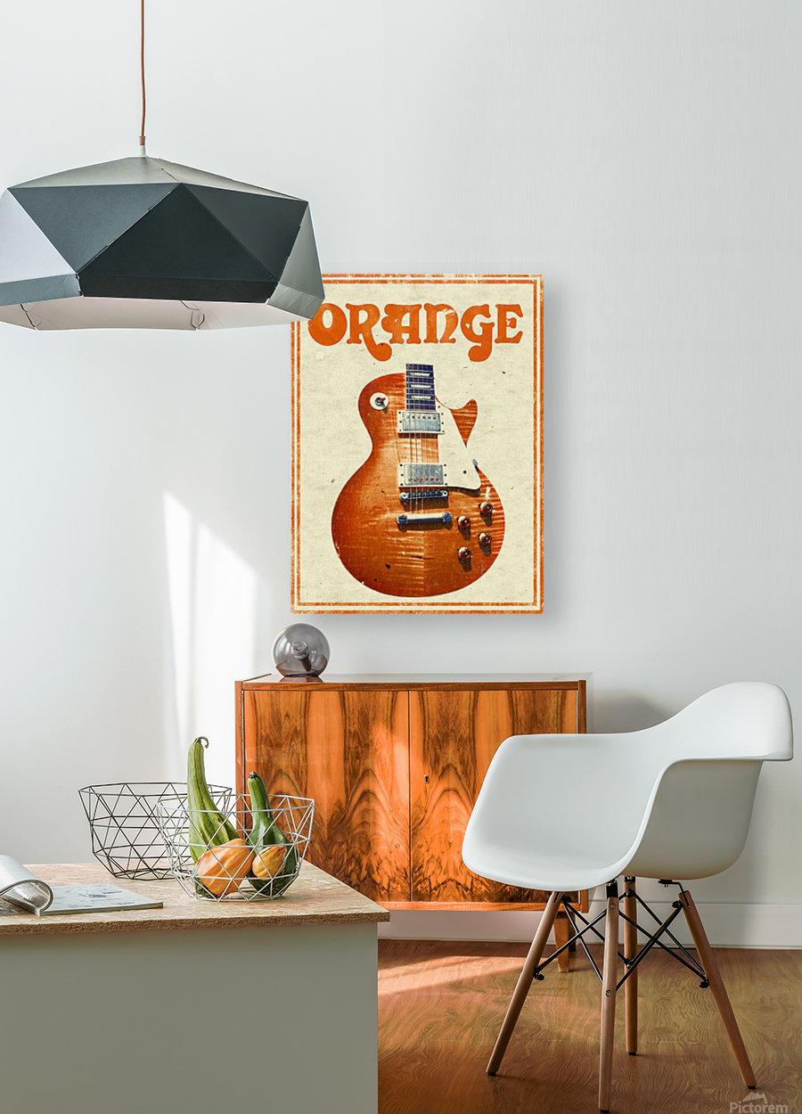 Orange vintage advertising poster  HD Metal print with Floating Frame on Back