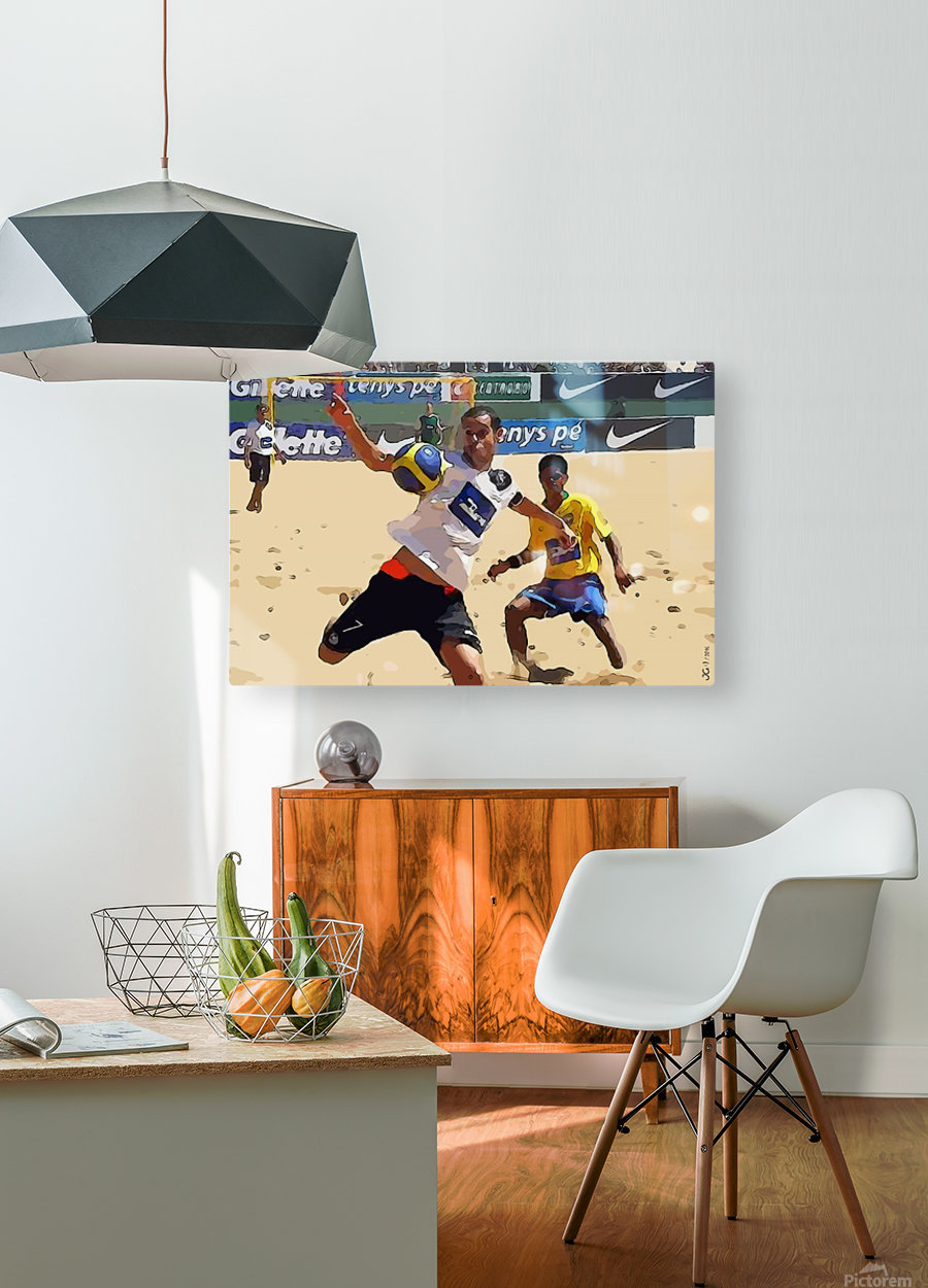 Beach football_05  HD Metal print with Floating Frame on Back