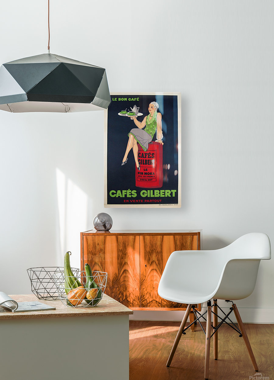 Cafes Gilbert original vintage food poster from France  HD Metal print with Floating Frame on Back