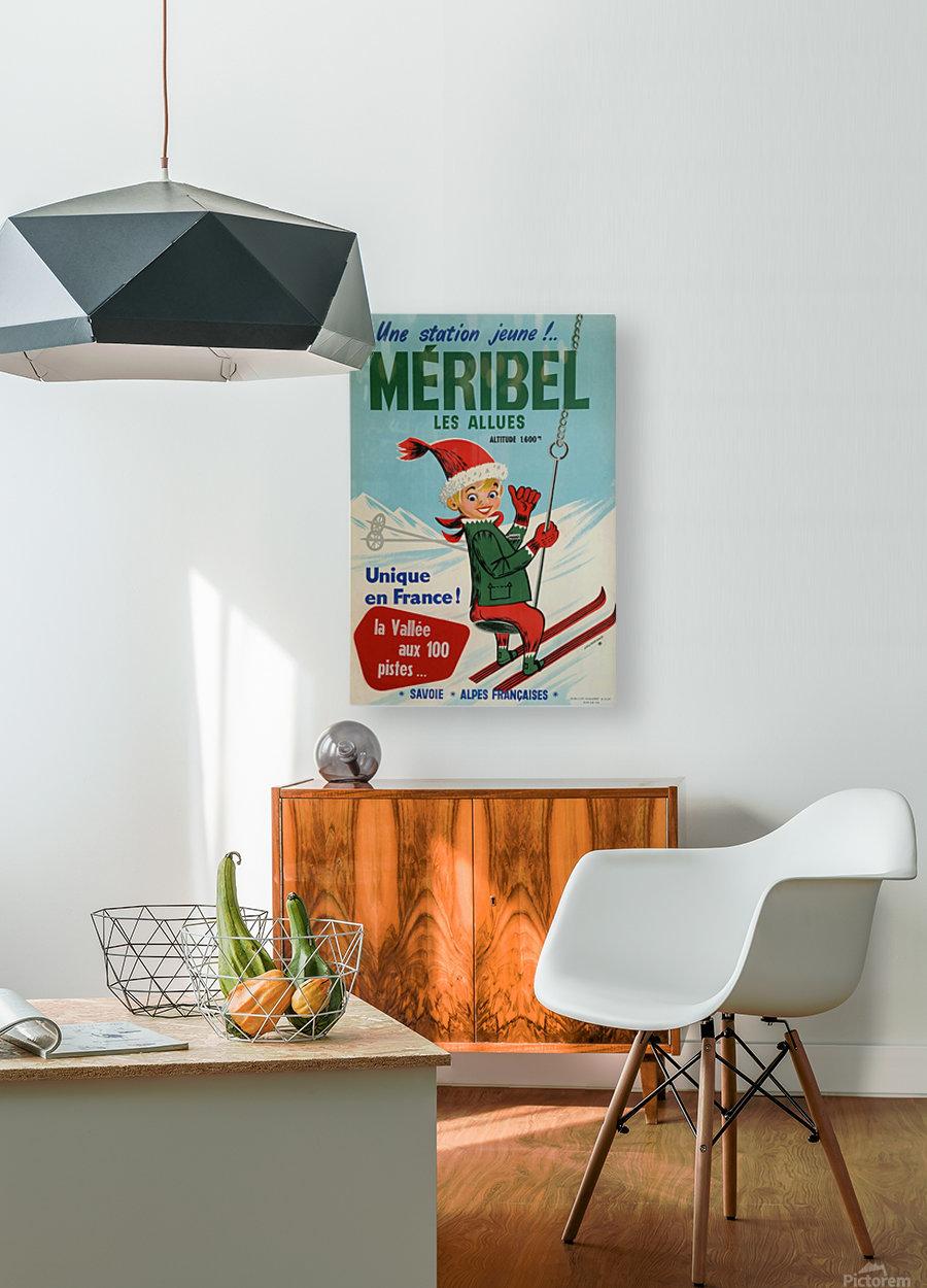 Original vintage poster ski winter sport Meribel  HD Metal print with Floating Frame on Back
