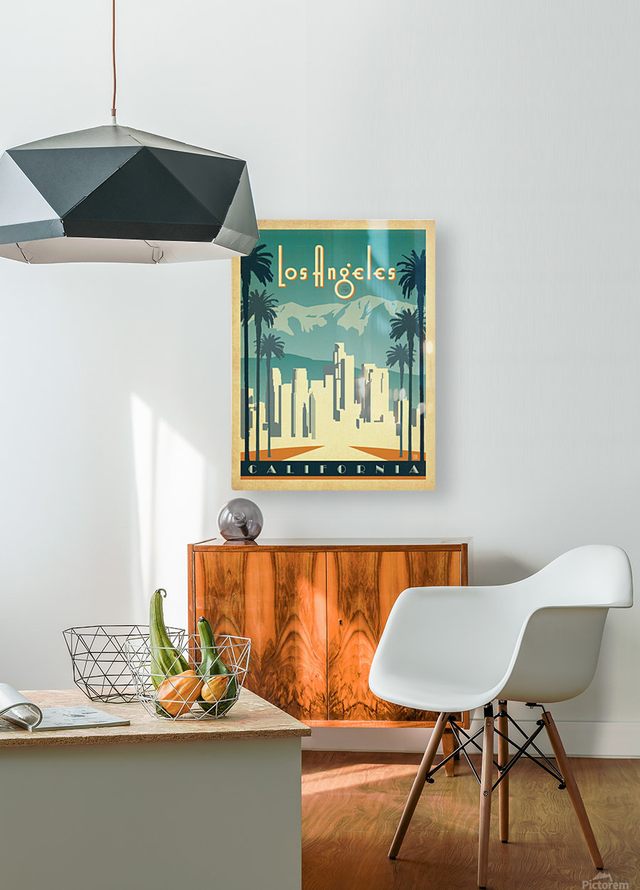 Los Angeles California travel poster  HD Metal print with Floating Frame on Back