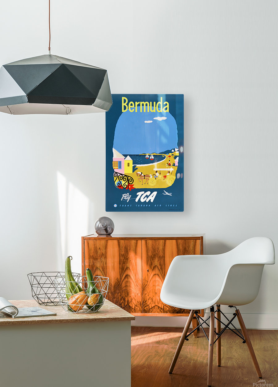 Bermuda Travel Poster for Fly Trans Canada Airline  HD Metal print with Floating Frame on Back