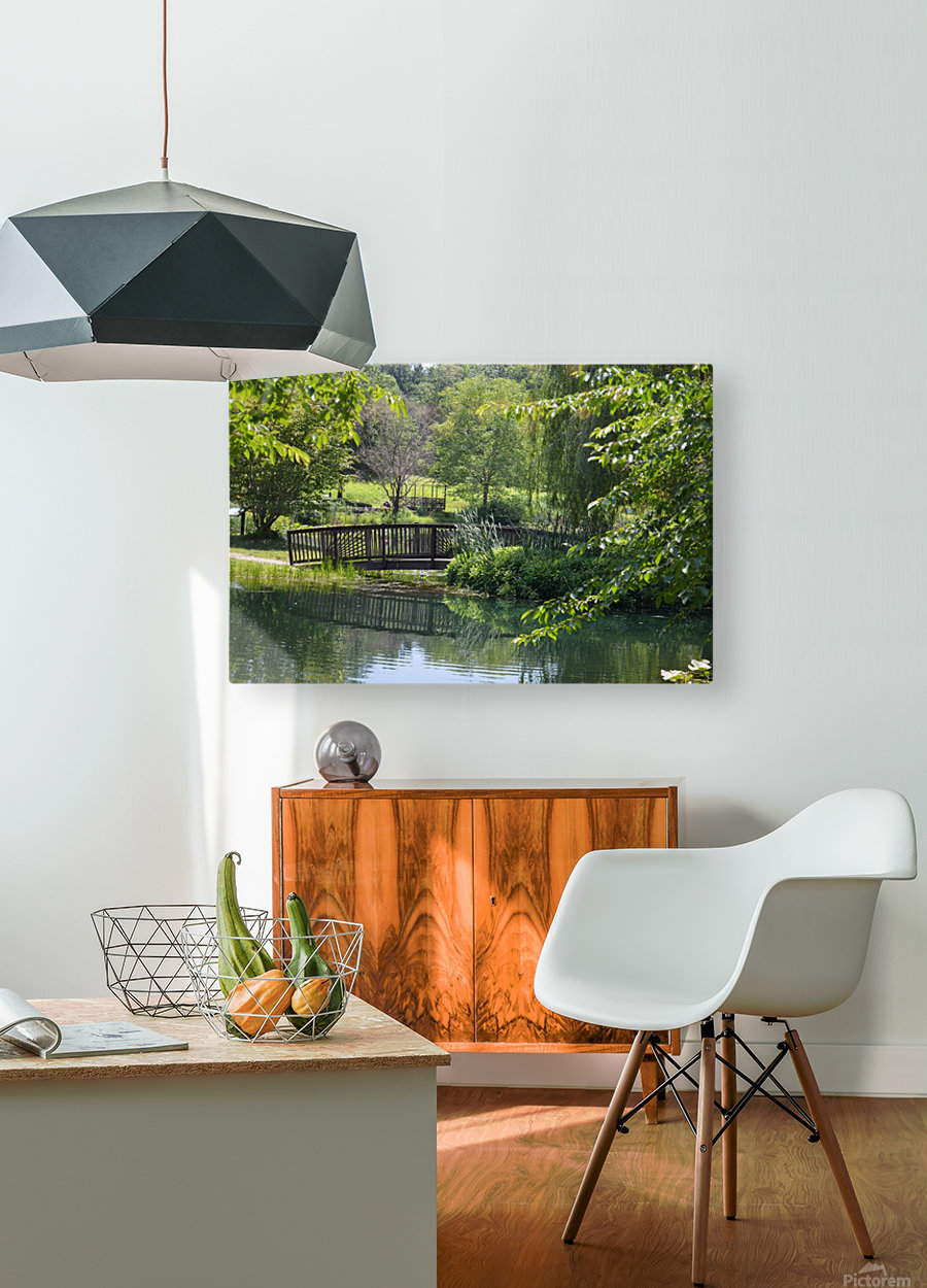 Bridge over pond  HD Metal print with Floating Frame on Back
