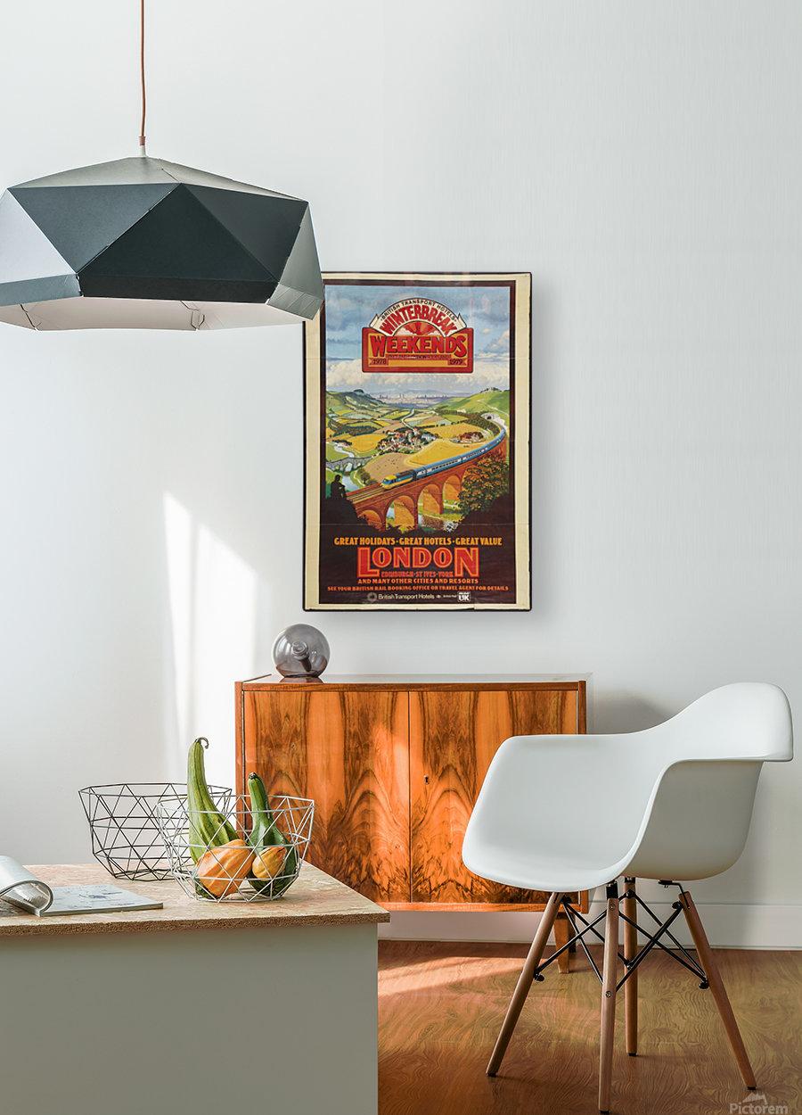 London vintage travel poster for British Railways  HD Metal print with Floating Frame on Back