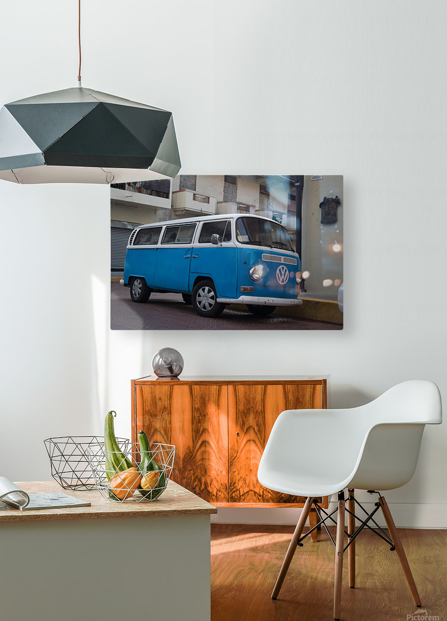 The blue VW van  HD Metal print with Floating Frame on Back