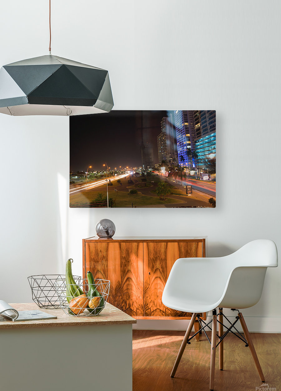 Cinta Costera Long Exposure   HD Metal print with Floating Frame on Back