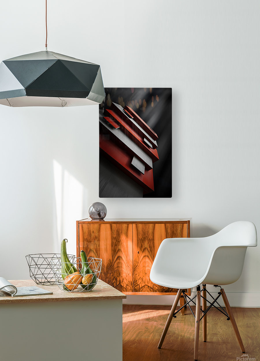 red&white  HD Metal print with Floating Frame on Back
