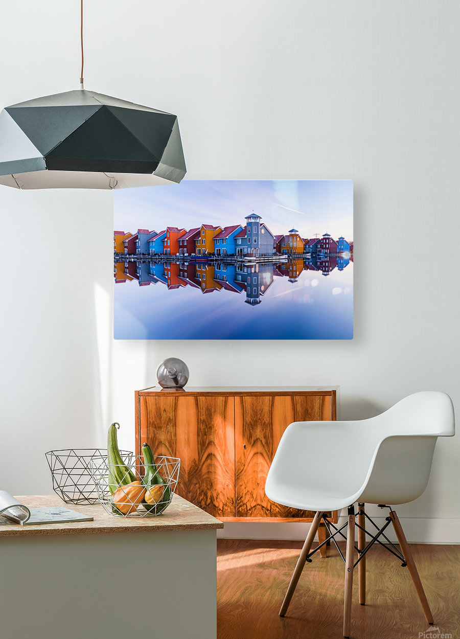 Colored homes  HD Metal print with Floating Frame on Back