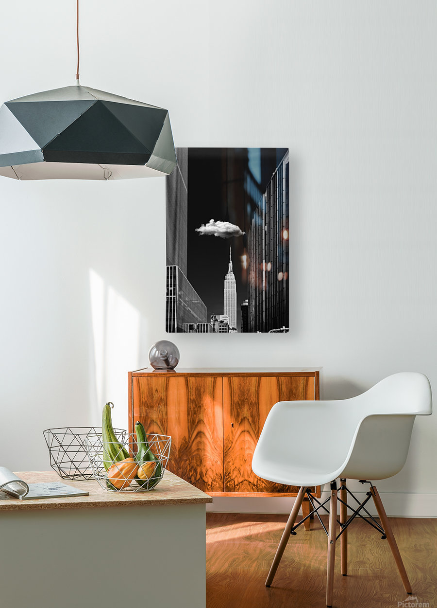 Single Cloud  HD Metal print with Floating Frame on Back