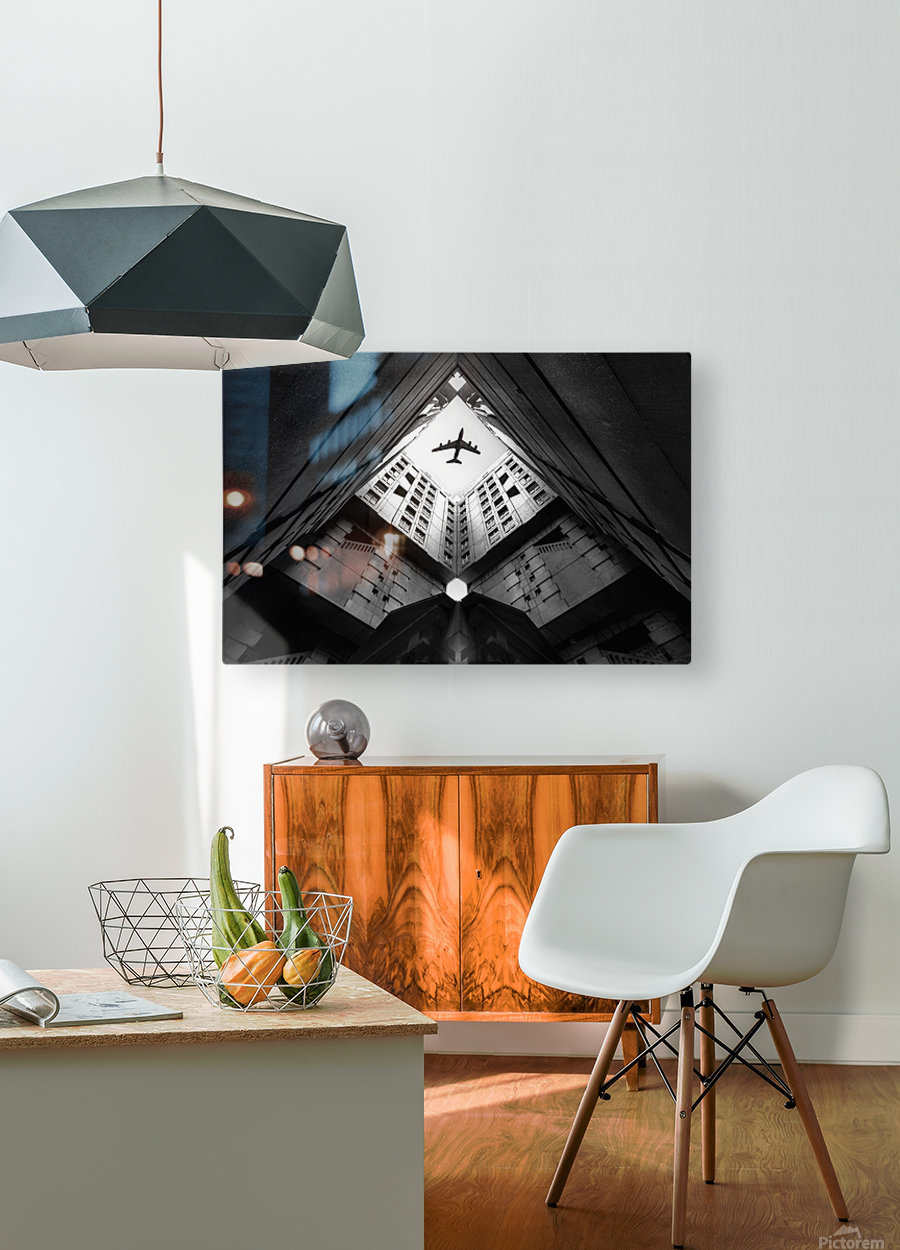Plane city  HD Metal print with Floating Frame on Back