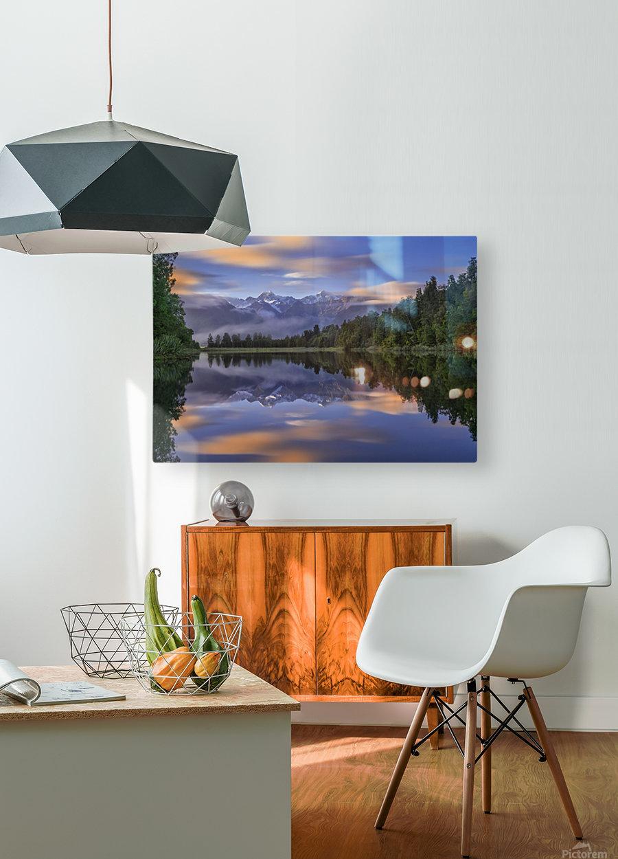 Lake Matheson  HD Metal print with Floating Frame on Back