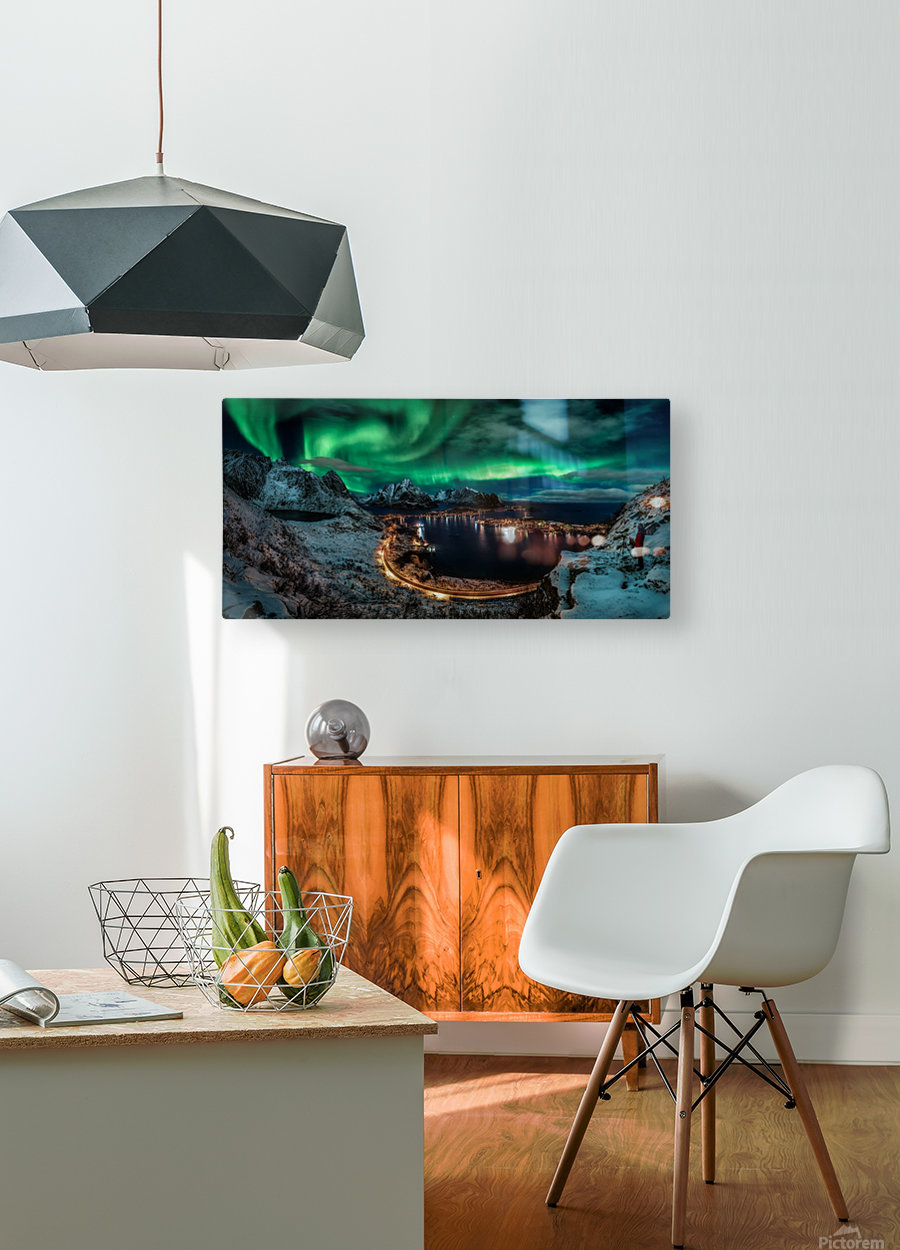 Chasing the Northern Lights  HD Metal print with Floating Frame on Back