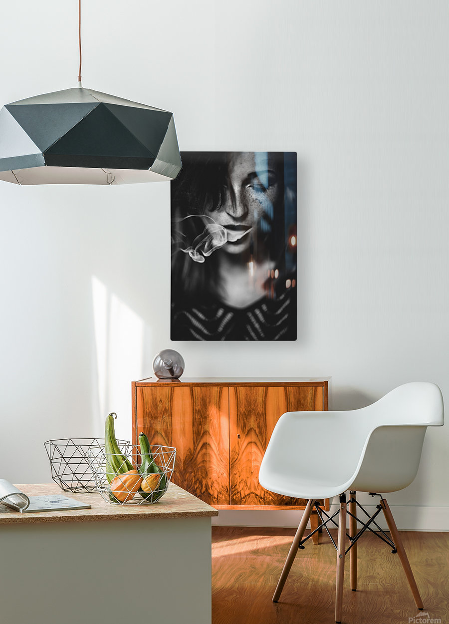 Smokey  HD Metal print with Floating Frame on Back