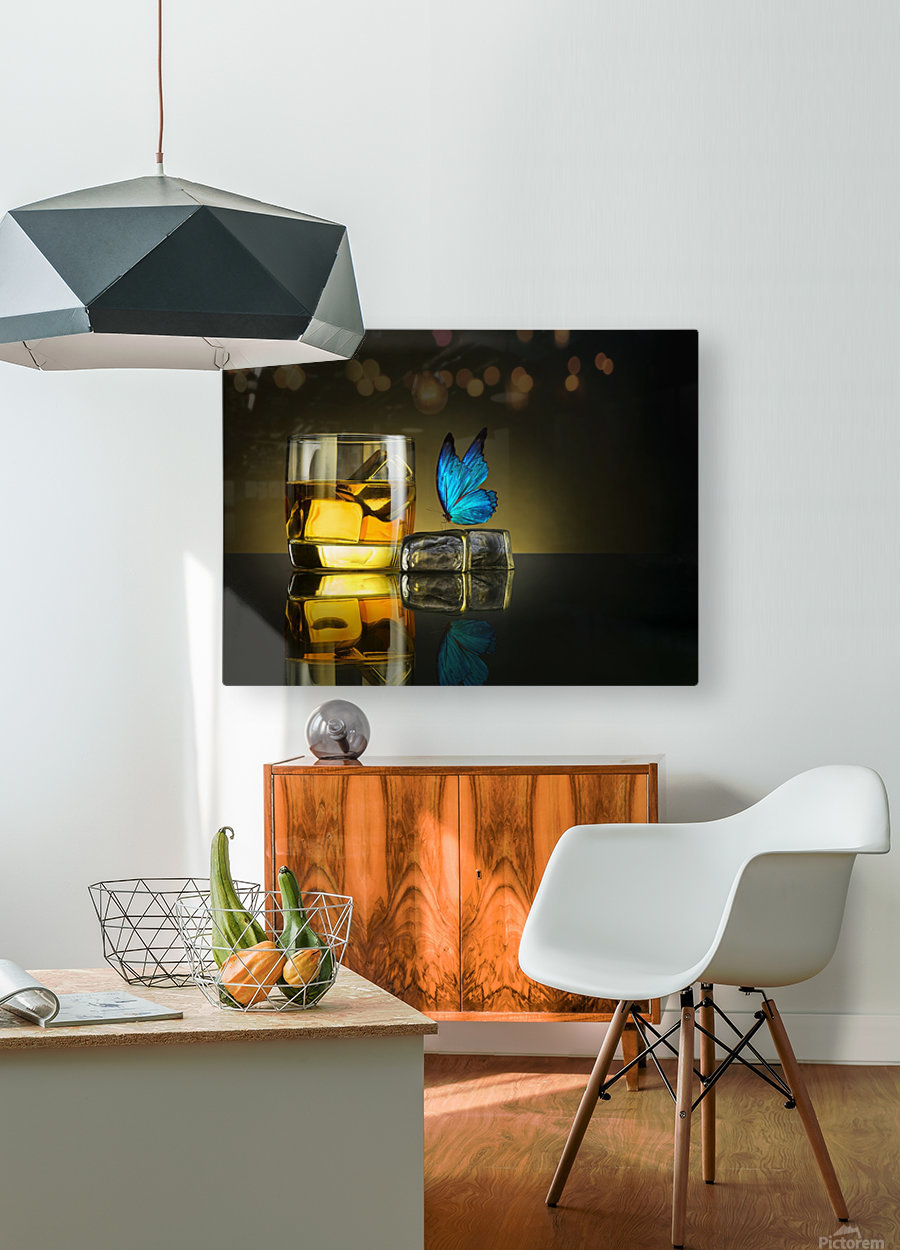 Butterfly Drink  HD Metal print with Floating Frame on Back