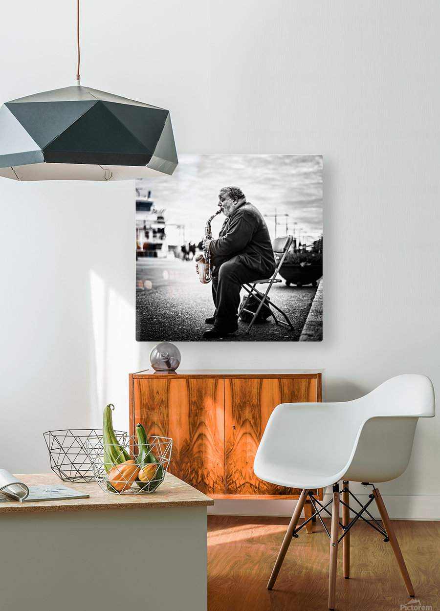 Sax  HD Metal print with Floating Frame on Back