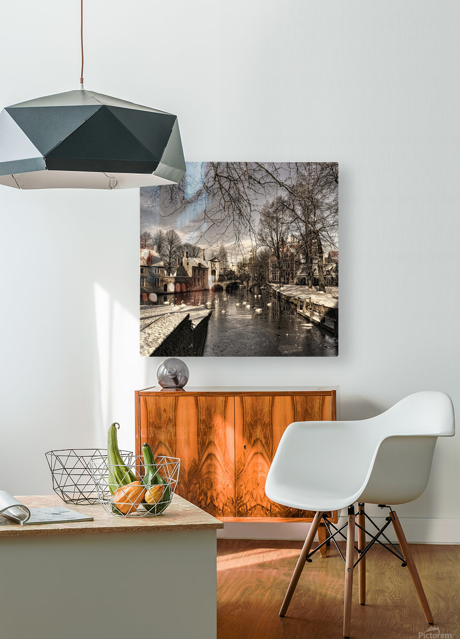 Bruges in Christmas dress  HD Metal print with Floating Frame on Back