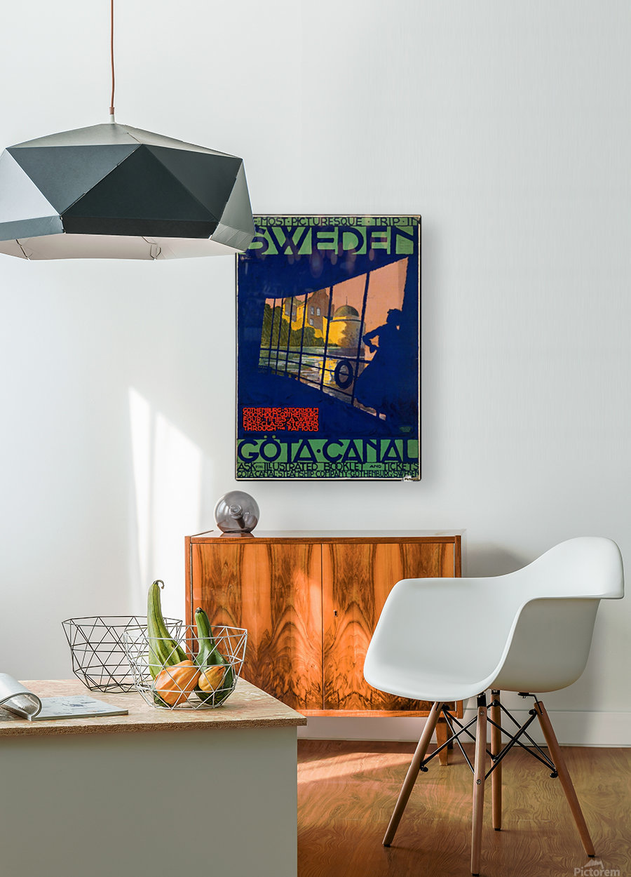 Sweden Gota Canal travel poster  HD Metal print with Floating Frame on Back