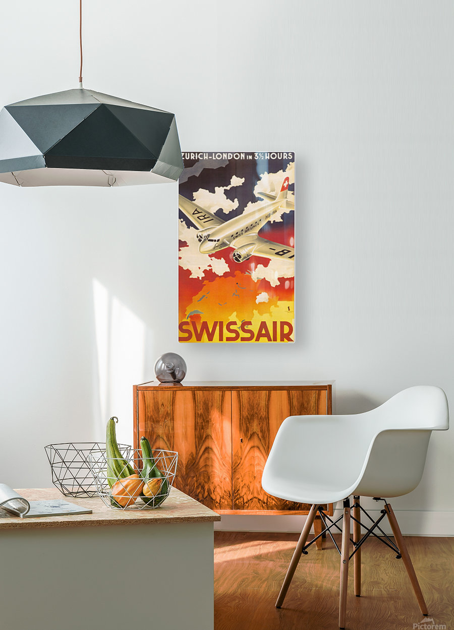Zurich - London travel poster for Swissair  HD Metal print with Floating Frame on Back