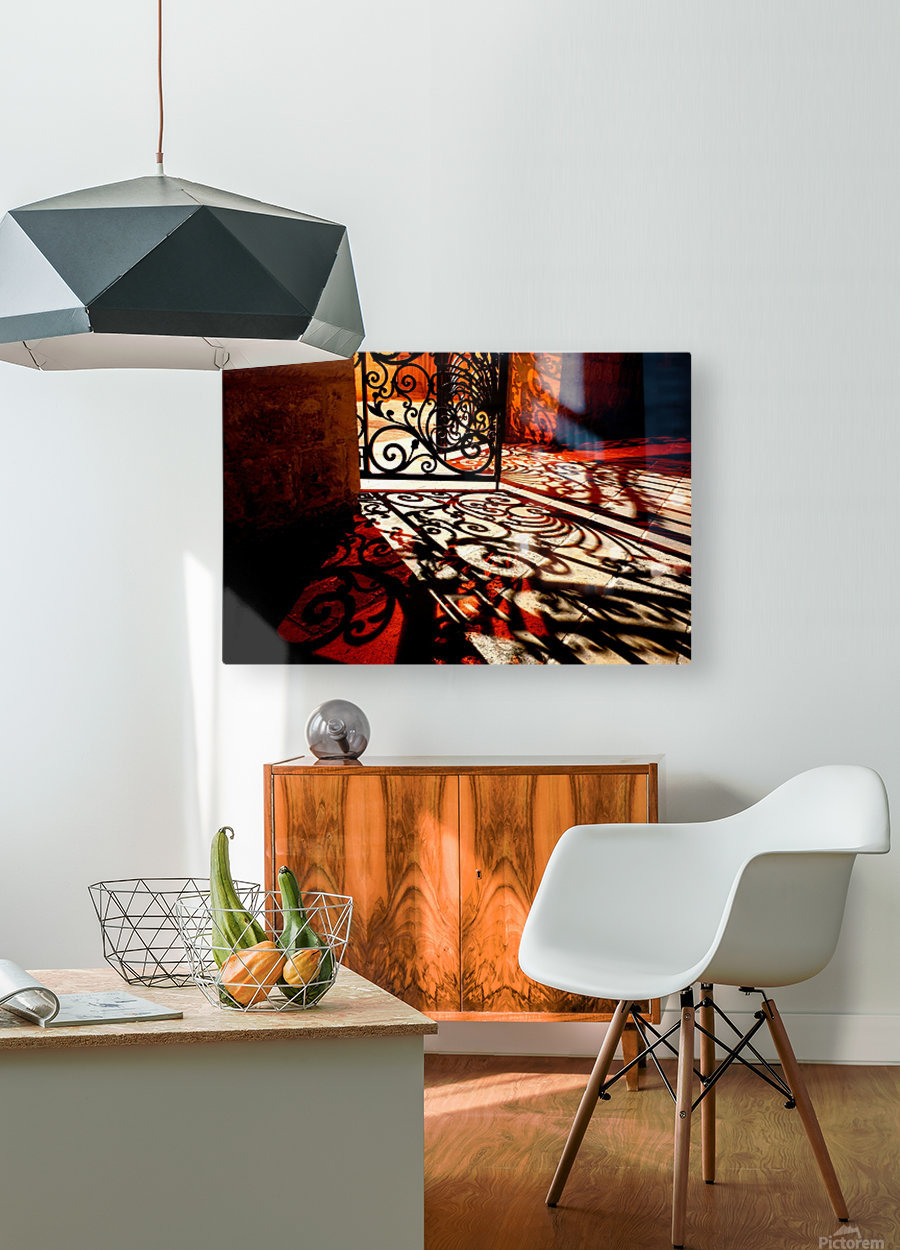Courtyard shadows  HD Metal print with Floating Frame on Back