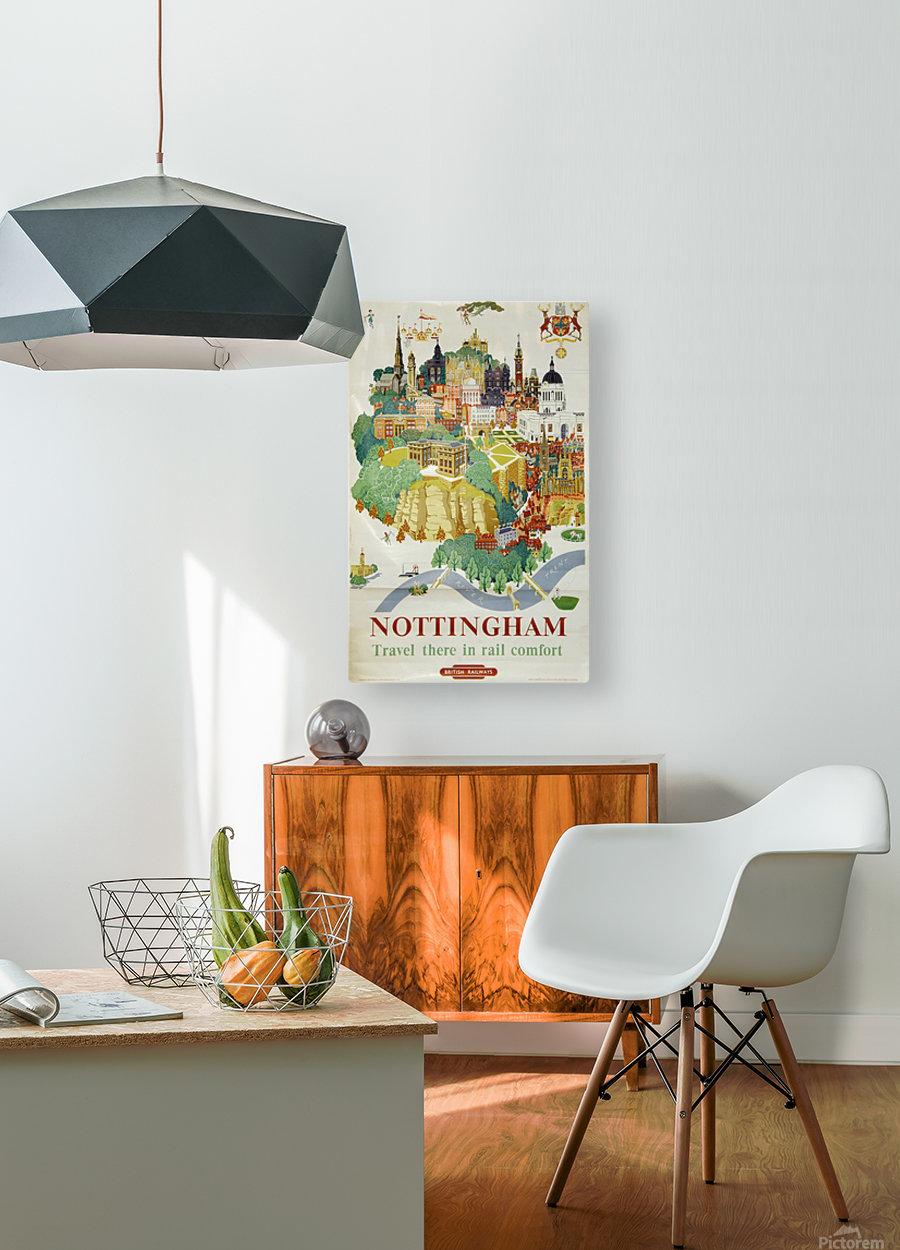 Nottingham vintage travel poster for British Railways  HD Metal print with Floating Frame on Back