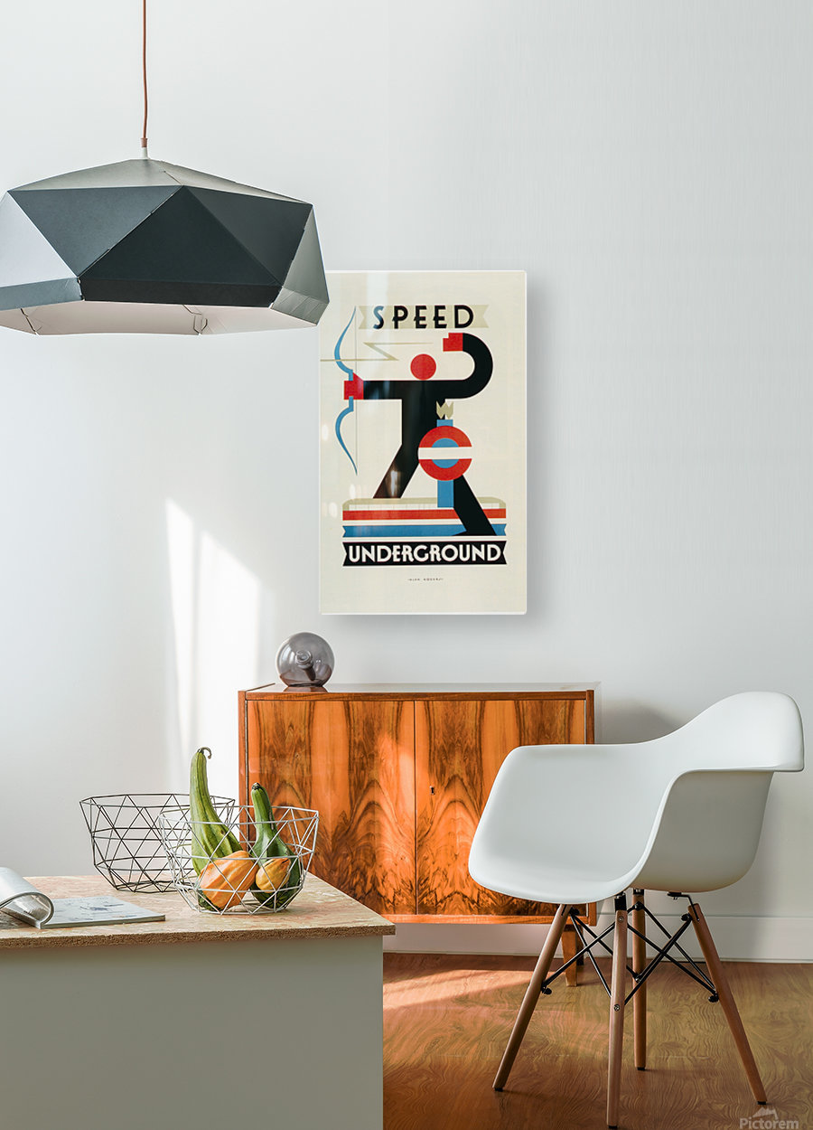 London Speed Underground poster  HD Metal print with Floating Frame on Back