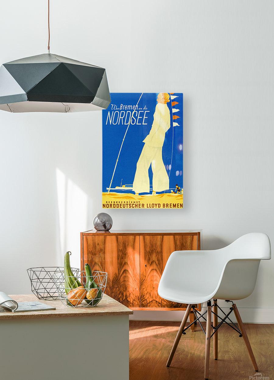 Nordsee vintage German travel poster  HD Metal print with Floating Frame on Back